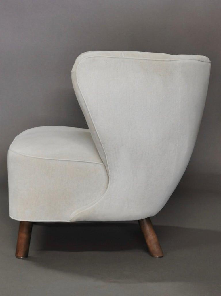 Stained 1940s Danish Easy Chair, Velvet Mohair For Sale