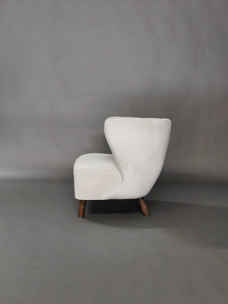 1940s Danish Easy Chair, Velvet Mohair In Good Condition For Sale In , DE