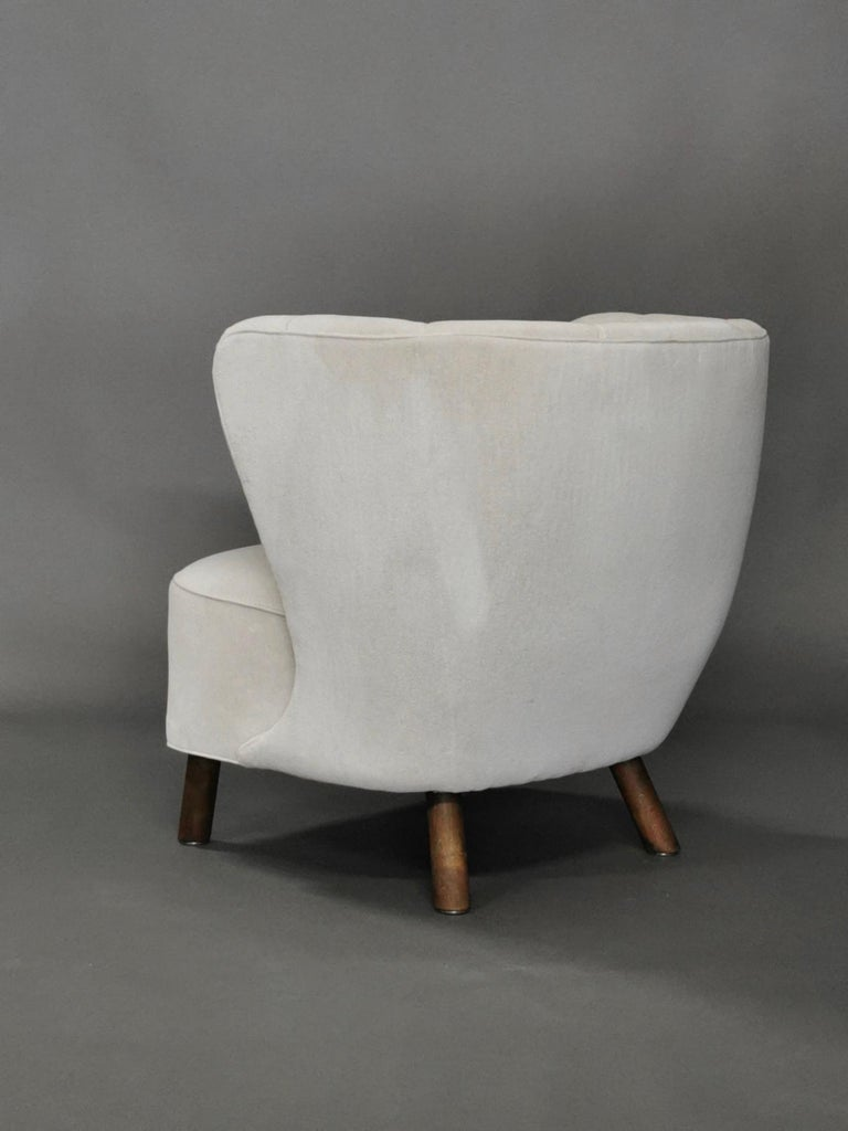 Mid-20th Century 1940s Danish Easy Chair, Velvet Mohair For Sale
