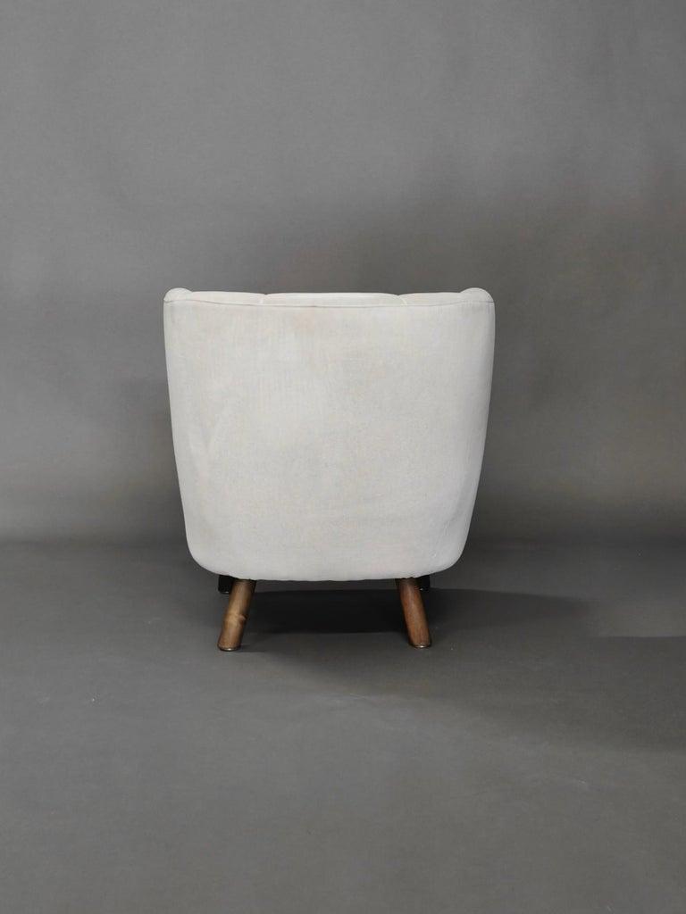 1940s Danish Easy Chair, Velvet Mohair For Sale 1