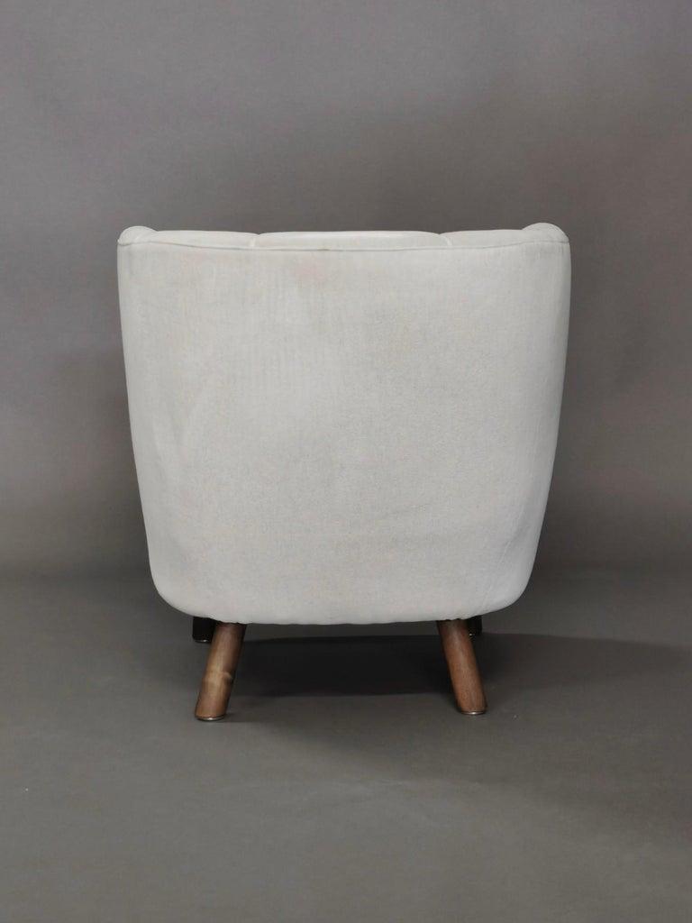 1940s Danish Easy Chair, Velvet Mohair For Sale 2