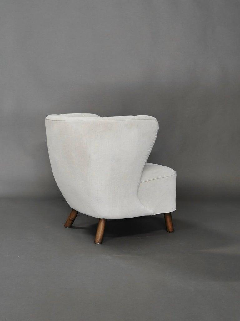 1940s Danish Easy Chair, Velvet Mohair For Sale 3