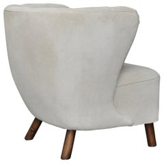 1940s Danish Easy Chair, Velvet Mohair