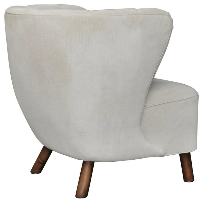 1940s Danish Easy Chair, Velvet Mohair For Sale