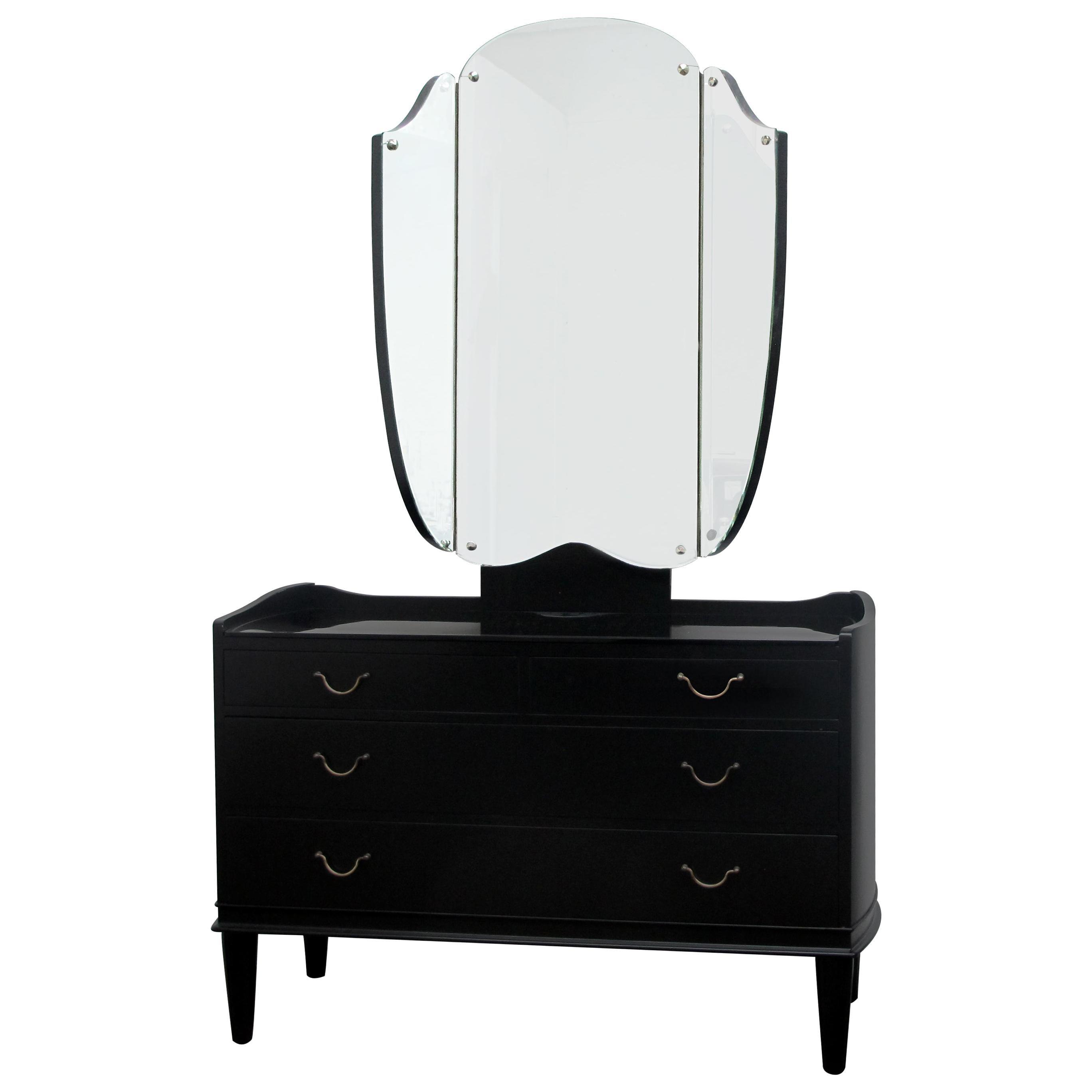 1940s Danish Ebonized Vanity Dressing Table with Triptych Mirror Glass Etch Top