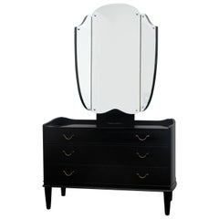 1940s Danish Ebonized Vanity Dressing Table with Triptych Mirror Glass Etch Top