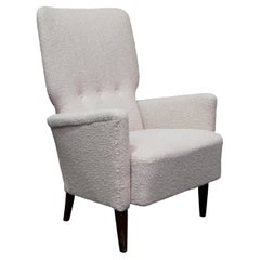 1940s Danish High Back Three Buttoned Lounge Chair in Cream Bouclé Fabric