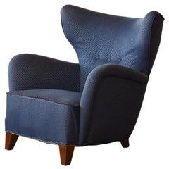 1940s Danish Large Upholstered Organic Shape Lounge Chair
