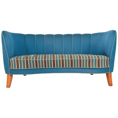 1940s Danish Modern Curved Banana Sofa in Blue Wool