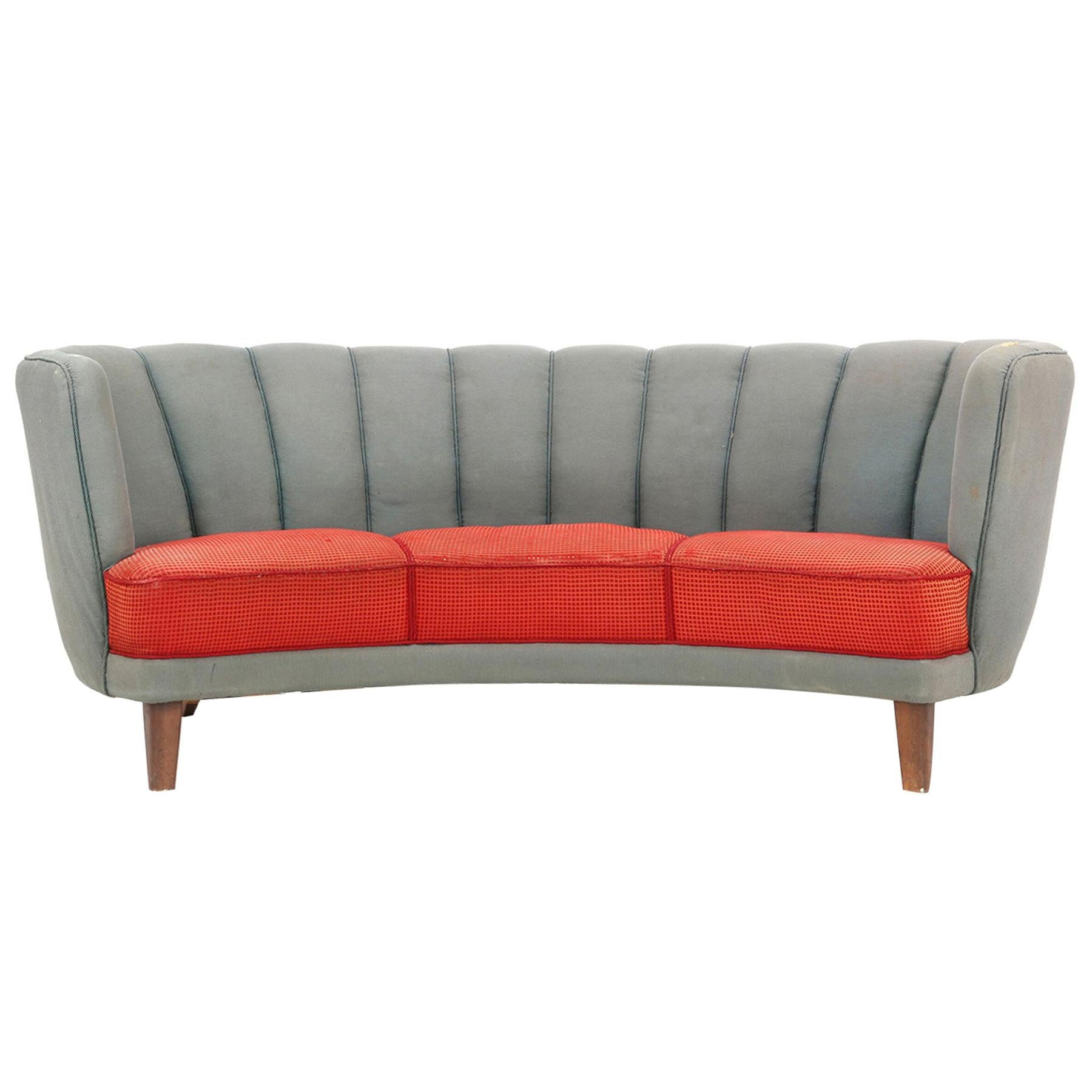 1940s Danish Modern Curved Banana Sofa in Red and Blue Wool