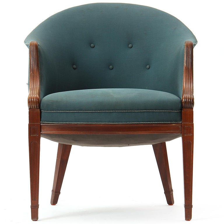 Mahogany 1940s Danish Settee and Pair of Chairs by Frits Henningsen in Vintage Upholstery For Sale