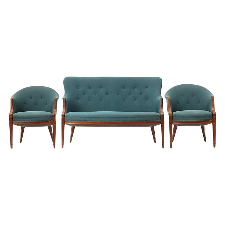 1940s Danish Settee and Pair of Chairs by Frits Henningsen in Vintage Upholstery For Sale