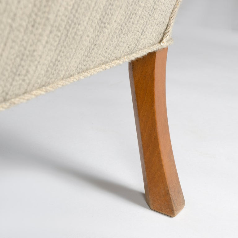 1940s Danish Upholstered Settee by Ole Wanscher for A.J. Iversen For Sale 2