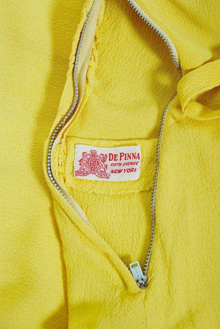 Vintage 1940's De Pinna of New York Lemon Yellow Rayon-Crepe Beaded Peplum Gown For Sale 5