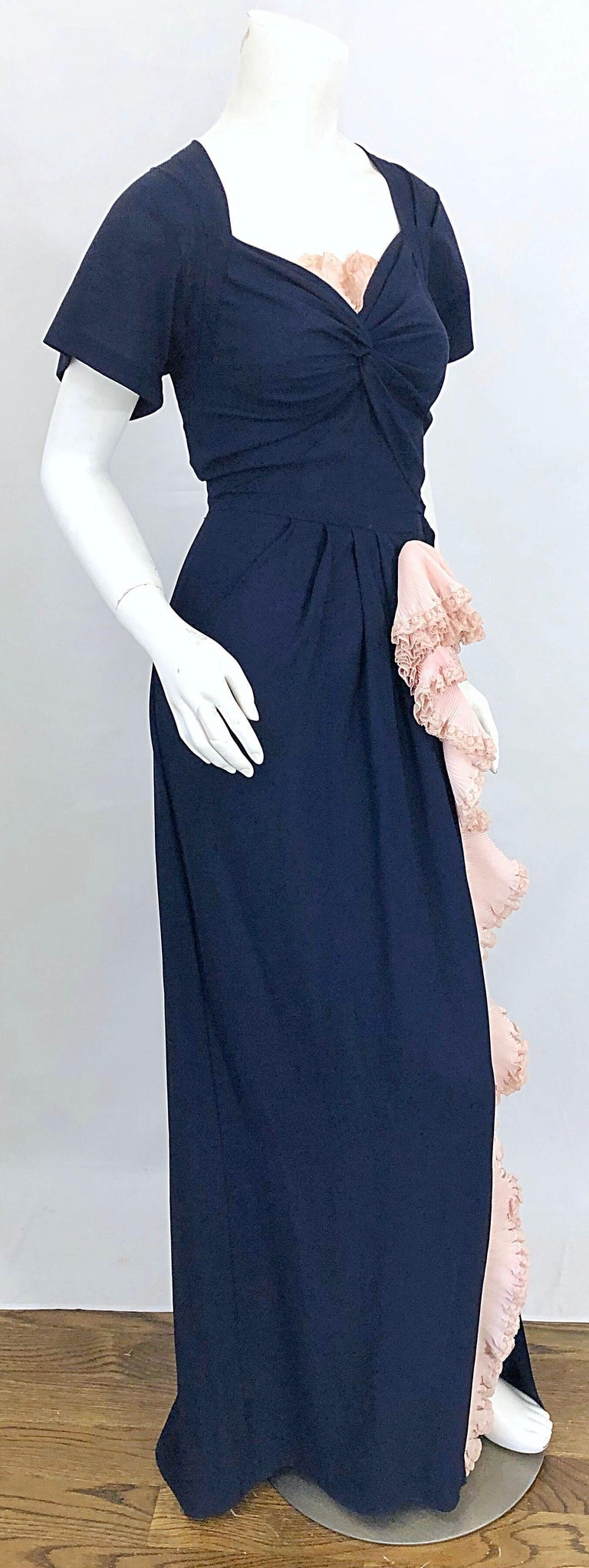 1940s Demi Couture Navy Blue + Pale Pink Short Sleeve 40s Vintage Gown / Dress For Sale 7