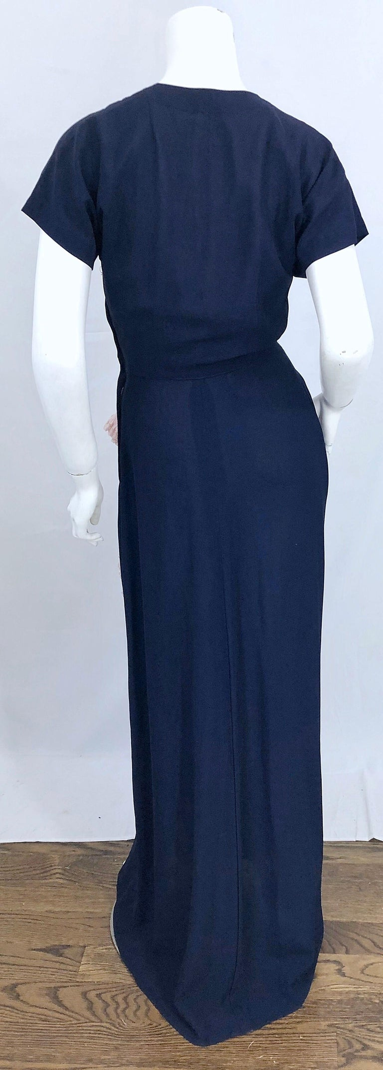 1940s Demi Couture Navy Blue + Pale Pink Short Sleeve 40s Vintage Gown / Dress For Sale 8