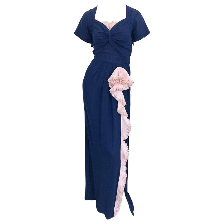 1940s Demi Couture Navy Blue + Pale Pink Short Sleeve 40s Vintage Gown / Dress For Sale