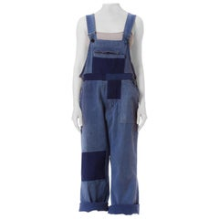 1930S Blue Cotton Men's Heavily Distressed Patchwork French Workwear Overalls