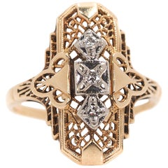 1940s Diamond and 14 Karat Yellow Gold Three-Stone Shield Ring