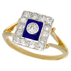 1940s Diamond and Blue Enamel Yellow Gold Cocktail Ring