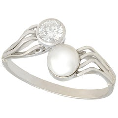 1940s Diamond and Cultured Pearl White Gold Twist Ring