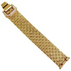 Retro 1940s French Diamond Gold Buckle Bracelet