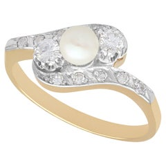 1940s Diamond and Pearl Yellow Gold and White Gold Set Cocktail Ring