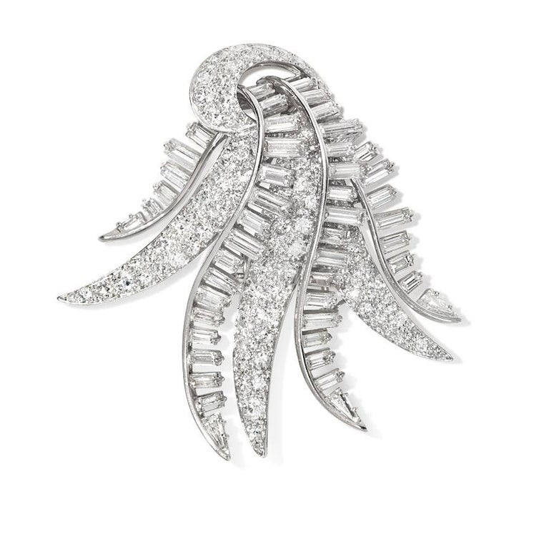 1940s Diamond and Platinum Cascading Spray Brooch in Platinum For Sale