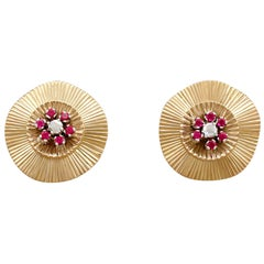 1940s Diamond and Synthetic Ruby, Yellow Gold Stud Earrings