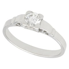1940s Diamond and White Gold Solitaire Ring