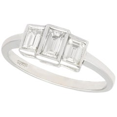 1940s Emerald Cut Diamond and White Gold Trilogy Engagement Ring
