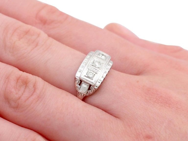 1940s Diamond and White Gold Trilogy Ring, circa 1940 For Sale 2