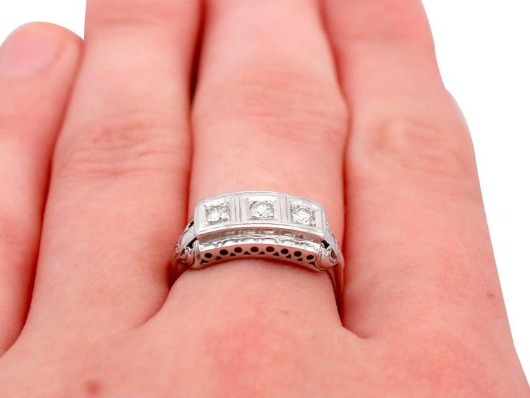 1940s Diamond and White Gold Trilogy Ring, circa 1940 For Sale 3