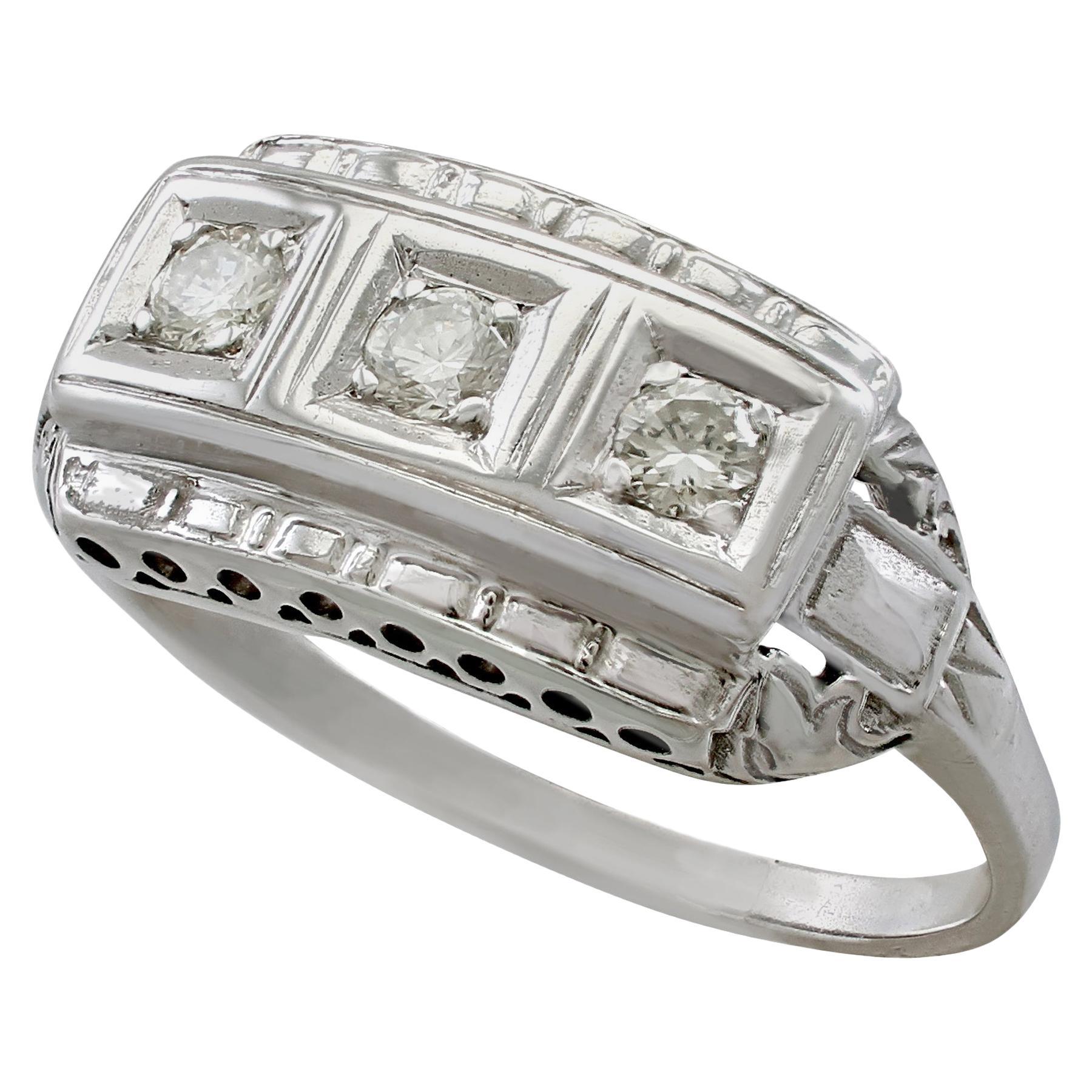 1940s Diamond and White Gold Trilogy Ring, circa 1940