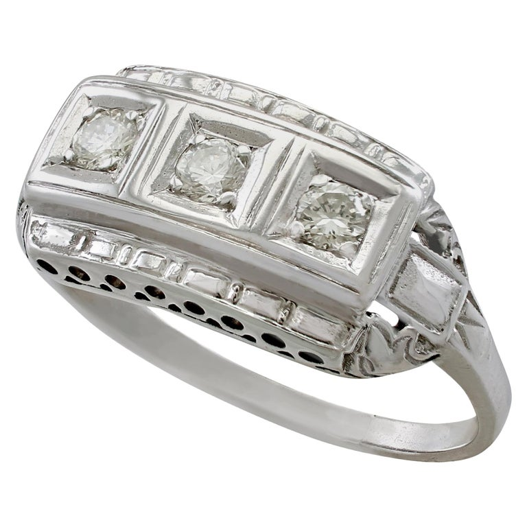 1940s Diamond and White Gold Trilogy Ring, circa 1940 For Sale