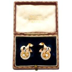 1940s Diamond and Yellow Gold Earrings, Art Deco