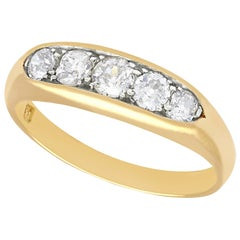 1940s Diamond and Yellow Gold Five Stone Ring