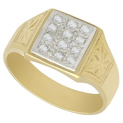 1940s Diamond and Yellow Gold Signet Ring