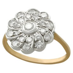 1940s Diamond and Yellow Gold Silver Set Cluster Ring