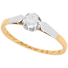 1940s Diamond and Yellow Gold Solitaire Engagement Ring