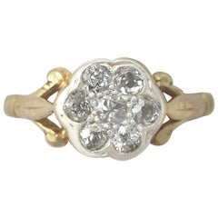 1940s Diamond and Yellow Gold White Gold Set Cluster Ring