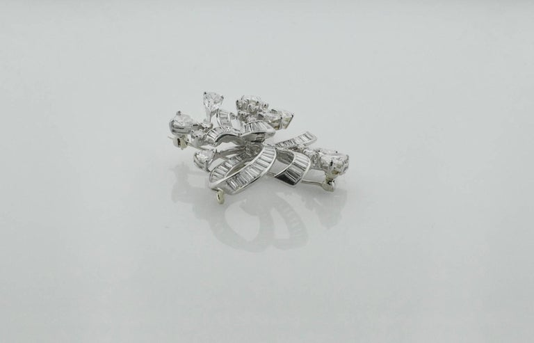 Women's or Men's 1940s Diamond Brooch and Pendant For Sale