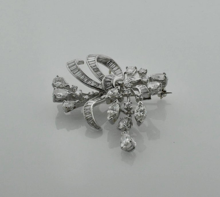 1940s Diamond Brooch and Pendant For Sale 2