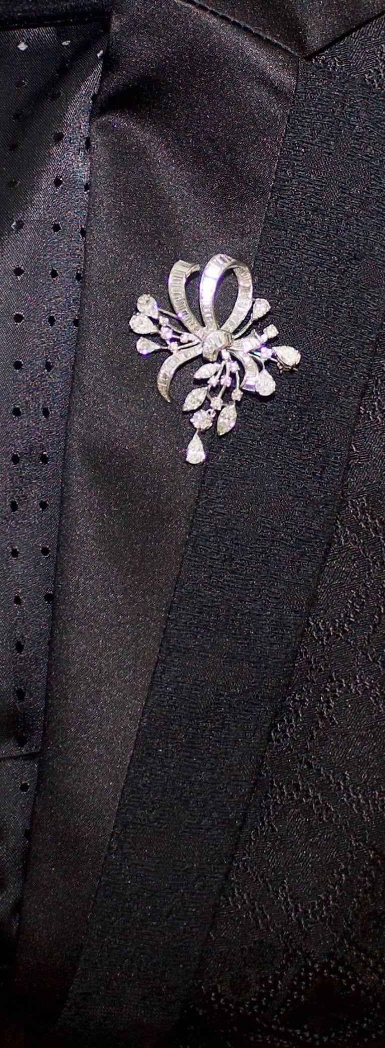 1940s Diamond Brooch and Pendant For Sale 4