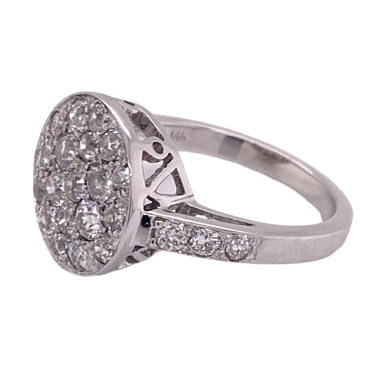 1940's Diamond Circle White Gold Vintage Ring Old Mine Old European Cut Diamonds In Excellent Condition For Sale In Boca Raton, FL