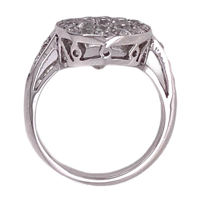 Women's 1940's Diamond Circle White Gold Vintage Ring Old Mine Old European Cut Diamonds For Sale