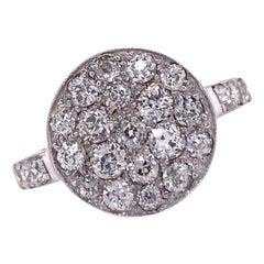 1940's Diamond Circle White Gold Vintage Ring Old Mine Old European Cut Diamonds