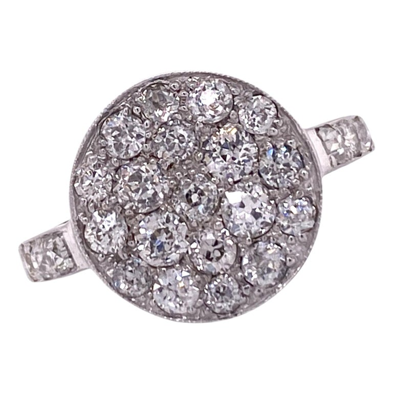 1940's Diamond Circle White Gold Vintage Ring Old Mine Old European Cut Diamonds For Sale
