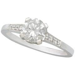 1940s Diamond Contemporary Platinum Solitaire Ring