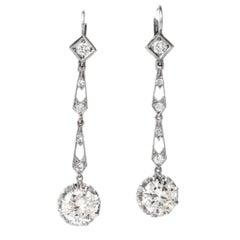 1940s Diamond Drop Platinum Earrings